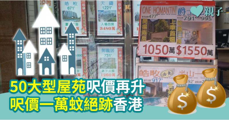 【貴!】50大型屋苑呎價再升 呎價一萬蚊絕跡香港